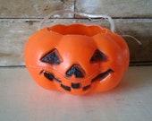 Vintage Small Halloween Plastic Pumkin Trick or Treat Pail