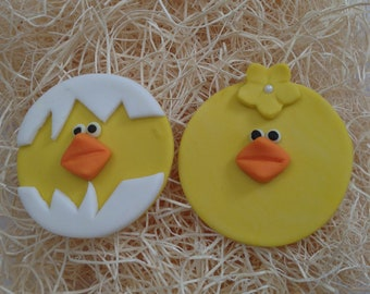 Edible Fondant Cupcake, cookie Toppers- Adorable chick