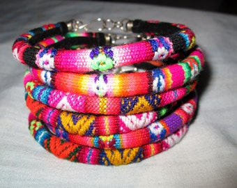 Wholesale  Lot 5 peruvian fabric  textile  Bracelets Rainbow Colors  Handmade