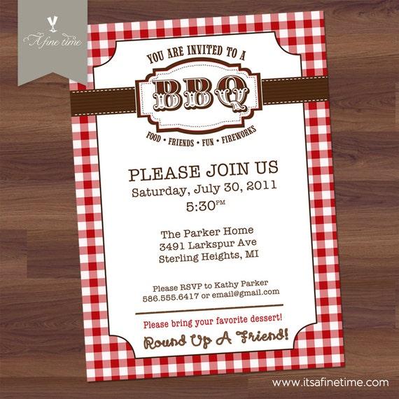 Items similar to BBQ Invitation - Barbecue Barbeque Picnic Invitation- Vintage - Red White Check ...