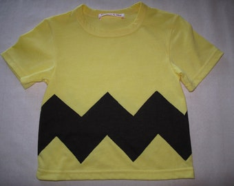 Charlie Brown shirt with brown stripes halloween birthday customes boys yellow T