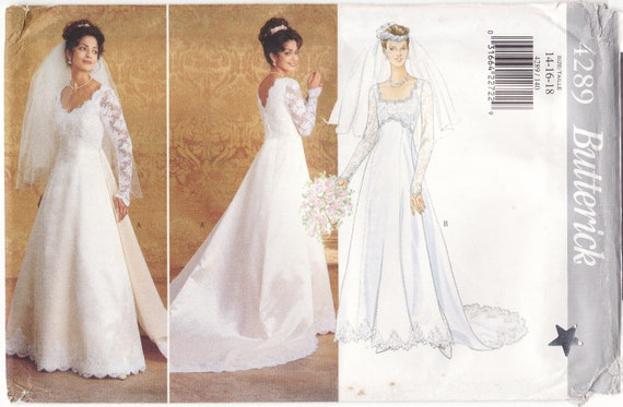 WEDDING DRESS PATTERN Butterick 4289 Bridal Gown With