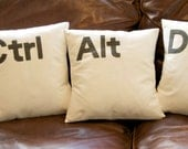 Ctrl - Alt - Del Computer key cushion pillow cover set ivory / black / Grey 16 ''