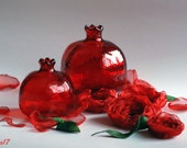 Two Red Glass Pomegranate