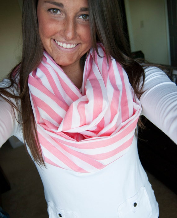 Pink and White Striped Cotton Infinity Scarf