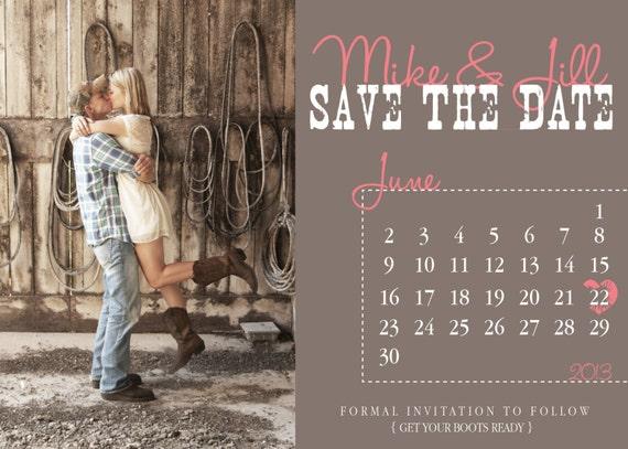 Diy Calendar Save The Date : Items similar to country calendar save the date wedding