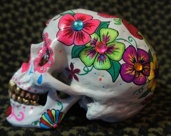 One of a Kind - Custom Painted with Crystals Day of the Dead Skull - MADE TO ORDER