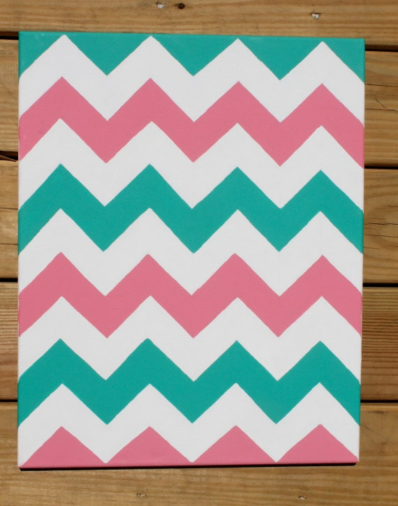 Chevron Painting: Pink & Teal