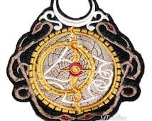 SteamPunk Alchemist Astrolabe Iron On Embroidery Patch MTCoffinz  - Large