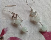 Green Aventurine and Chinese White Jade Sterling Silver Earrings