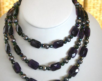 SEMIPRECIOUS ART DECO Necklace Set