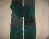 Noro Kama Hand Knitted Scarf - Shades of green and gray