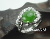 Natural jade ring elegant  green nephrite Hotan jade ring S925 sterling silver inlaid Rhinestone  ring( US size 5-10 )