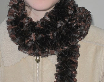Brown Multi Colored Crocheted Scarf, Ribbons Crocheted Scarf, Brown, Black and Gray Crocheted Scarf, Lacy Crocheted Scarf, Glimmering Scarf