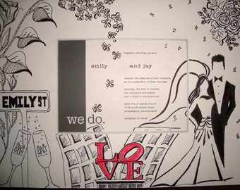 Wedding Invitation Keepsake, custom artwork ready to frame