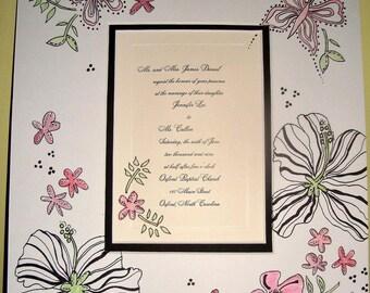Wedding Invitation Keepsake, LP style custom artwork ready to frame