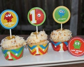 Monster Birthday Party Printable cupcake liners and toppers