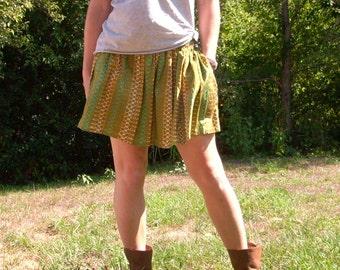 Gathered Waist Mini Skirt