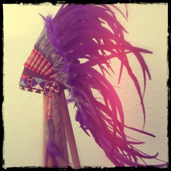 Purple Feather Headdress Native American Indian Style