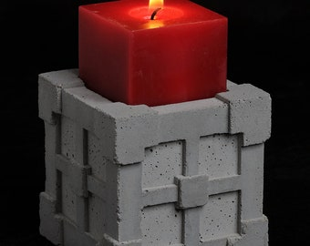 Mayan Tile Cube Candle Holder
