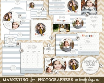 Photography Marketing Set Template kit Pre Made Logo Business Card INSTANT DOWNLOAD