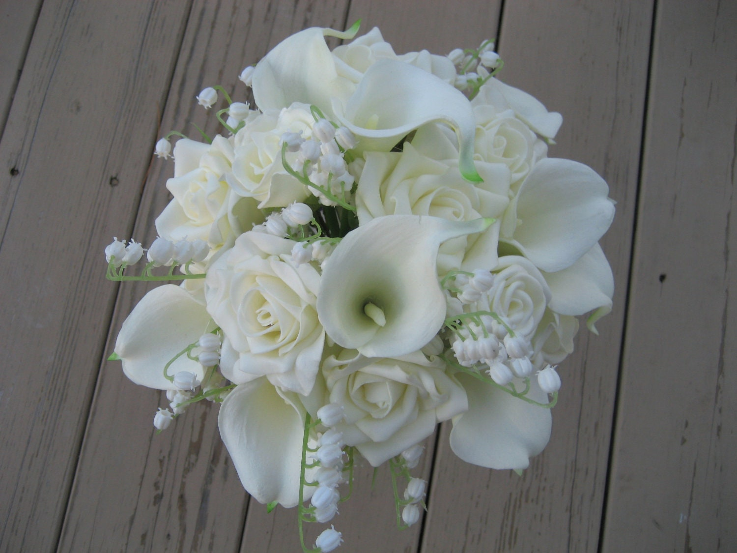 Wedding Flowers Roses And Lilies : Wedding bouquet all white flowers roses lily of the valley