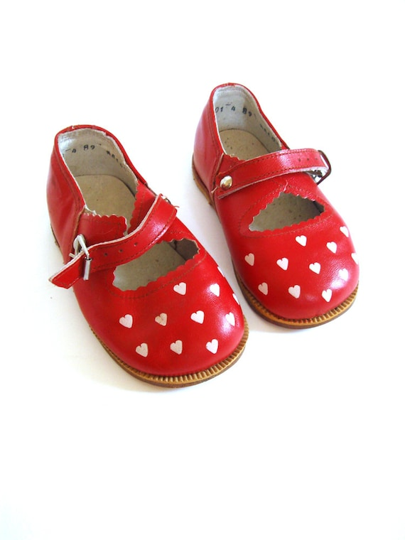 Soviet design shoes for girls, red leather with hearts, USSR 1960's