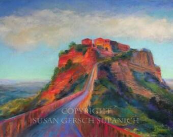"""Art Print  """"Civita di Bagnoregio""""  colorful Italian landscape painting 11 x 14 print Susan Gersch Supanich"""