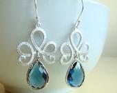 Romantic , elegant dangling earrings with sterling silver earwires