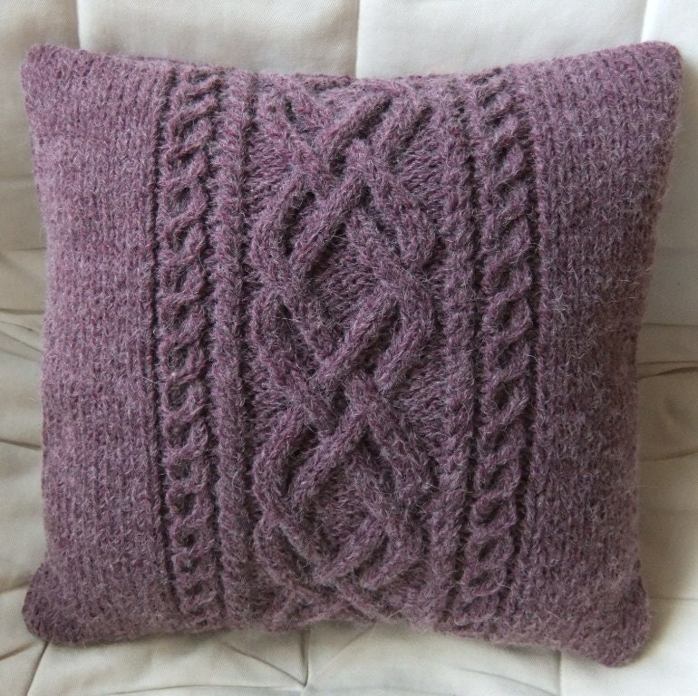 Free Knitting Patterns For Cushions In Cable Knit : Hand Knitted Plum Cable Cushion / Pillow Cover