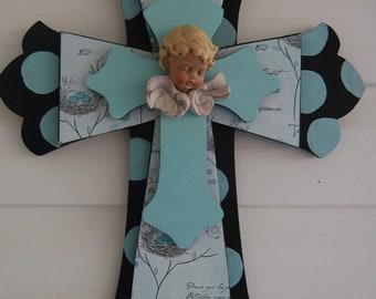 Three Tiered black and aqua cross with cherub, Baby Boy Gift, Birth of Grandson(141K)