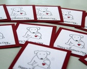 Valentine's for Kids Hand Stamped Dog with Heart, Dog Valentine's Day Mini Cards, Classroom Valentine's