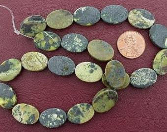 oval flat gemstone yellow turquoise beads