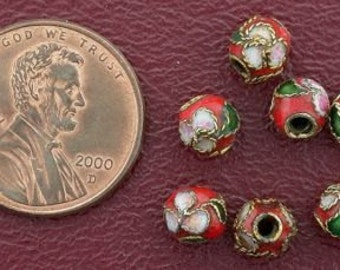seven 6mm floral round red cloisonne beads