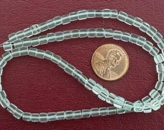 4mm cube gemstone aqua quartz beads