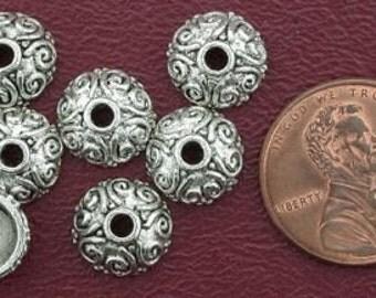 7 10mm ornate bead cap bali pewter beads