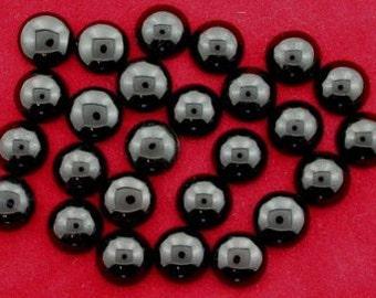 four 10mm round black onyx cabochon gem stone gemstone