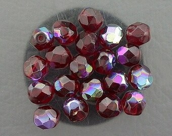20  ruby ab czech fire crystal faceted beads 6mm