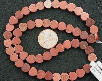 8mm flat heart gemstone goldstone beads