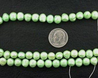 16 inch strand large green freshwater pearls
