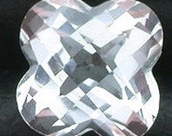 7mm flower checkerboard white topaz  gem stone gemstone