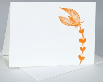 Note Card Set, All Occasion, Original Illustration, Floral Stem with Hearts, Set of 8 Folded Notes / Envelopes, LYNN -A