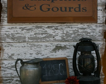 Pumpkins & Gourds Fall Farm Primitive Smokehouse Sign Decor
