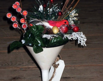 Bottoms Up...Martini glass made from vintage funnel and coffee can filled with Christmas Cheer.