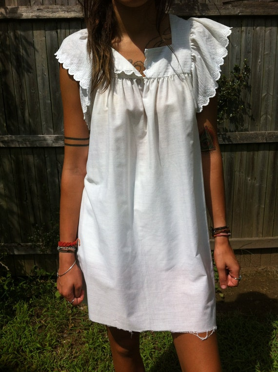Vintage Womens White Babydoll Prairie Dress