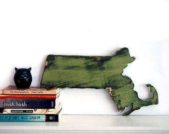 Massachusetts State Wooden State Cut Out Wood Sign Wall Decor Rustic Americana Chic Alternative Wedding Guest Book Distressed Wall Decor