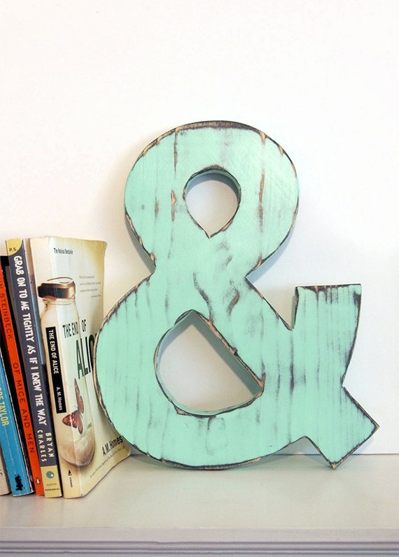 Ampersand wooden 12 mint navy pine wood sign wall decor for Ampersand decor