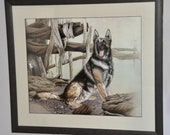 Collectable hand embroidered picture german shepherd, needle painting