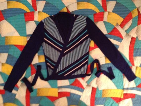 perfect 1970's diagonal stripe ballet wrap sweater
