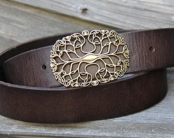 "Vintage Style Dark Brown Leather Belt with ""Canopy"" buckle Size Women's M"